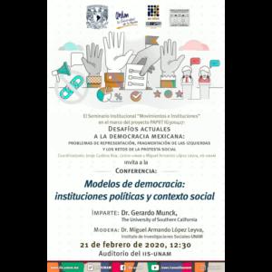 Modelos de democracia: instituciones políticas y contexto social @ Auditorio