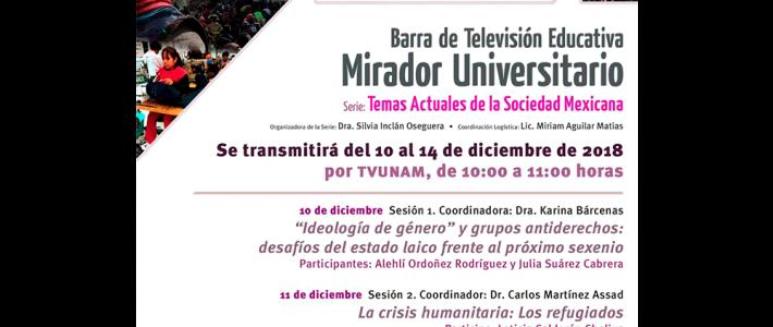 Barra de televisión educativa Mirador Universitario