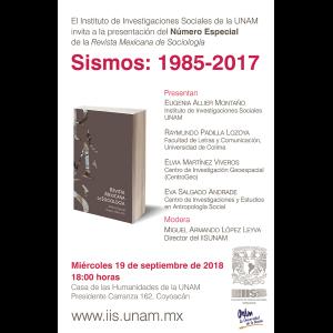 """Presentación del número especial de la Revista Mexicana de Sociología """"Sismos: 1985-2017"""" @ Casa de las Humanidades"""