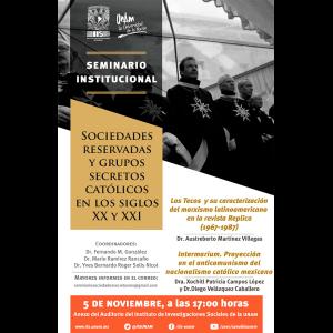 Seminario institucional Sociedades reservadas y grupos secretos católicos en los siglos XX y XXI [noviembre] @ Anexo