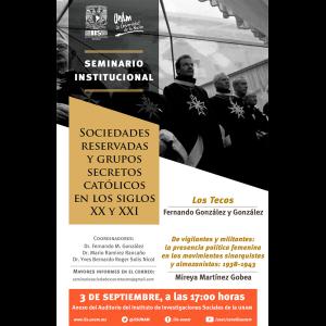 Seminario institucional Sociedades reservadas y grupos secretos católicos en los siglos XX y XXI [septiembre] @ Anexo