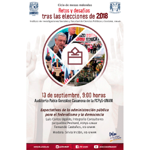 Expectativas de la administración pública para el federalismo y la democracia (CANCELADO) @ Auditorio Pablo González Casanova, FCPyS