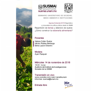 Repartición de tierras y deterioro de suelos: ¿Cómo construir la soberanía alimentaria? @ Auditorio