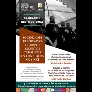 Seminario Sociedades Reservadas y Grupos Secretos Católicos en los Siglos XX y XXI (agosto) @ Transmisión por Youtube