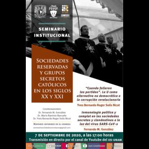Seminario Sociedades Reservadas y Grupos Secretos Católicos en los Siglos XX y XXI (septiembre) @ Transmisión por Youtube