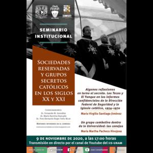 Seminario Sociedades Reservadas y Grupos Secretos Católicos en los Siglos XX y XXI (noviembre) @ Transmisión por Youtube