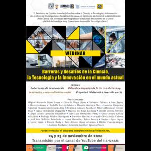 Barreras y desafíos de la ciencia, la tecnología y la innovación en el mundo actual @ Transmisión por Youtube