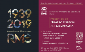 Presentación del número especial del 80 aniversario de la Revista Mexicana de Sociología @ Auditorio