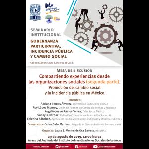 Compartiendo experiencias desde las organizaciones sociales. Promoción del cambio social y la incidencia pública en México (segunda parte) @ Anexo