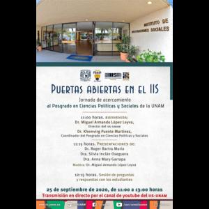 Puertas abiertas en el IIS. Jornada de acercamiento al Posgrado de Ciencias Políticas y Sociales de la UNAM @ Transmisión por Youtube