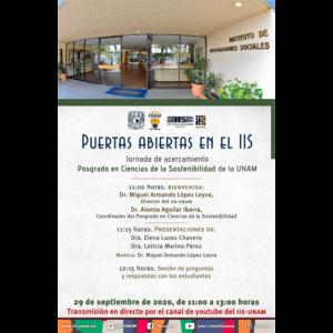 Puertas abiertas en el IIS. Jornada de acercamiento al Posgrado en Ciencias de la Sostenibilidad de la UNAM @ Transmisión por Youtube