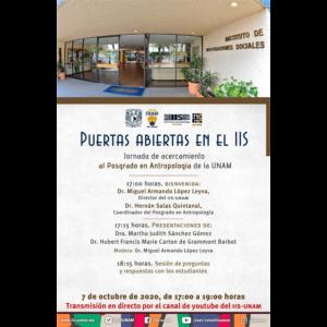 Puertas abiertas en el IIS. Jornada de acercamiento al Posgrado en Antropología de la UNAM @ Transmisión por Youtube