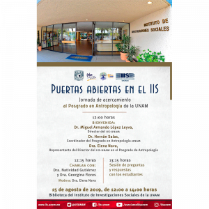 Puertas abiertas en el IIS. Jornada de acercamiento al Posgrado de Antropología de la UNAM @ Biblioteca