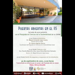 Puertas abiertas en el IIS. Jornada de acercamiento al Posgrado en Ciencias de la Sostenibilidad de la UNAM @ Transmisión por el canal 2 de Youtube