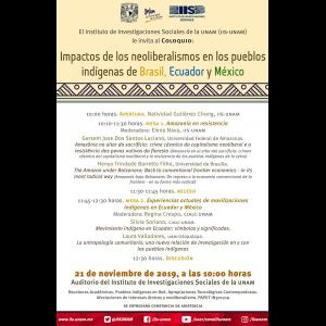 Impacto de los neoliberalismos en los pueblos indígenas de Brasil, Ecuador y México @ Auditorio