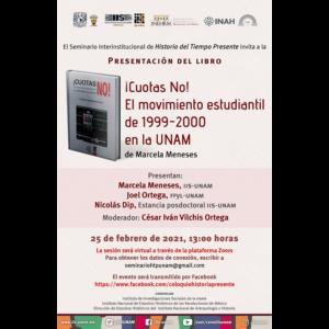 """Presentación del libro """"!Cuotas No! El movimiento estudiantil de 1999-2000 en la UNAM"""" @ Transmisión por Zoom"""