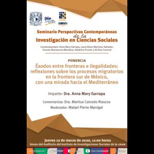 Éxodos entre fronteras e ilegalidades: reflexiones sobre los procesos migratorios en la frontera sur de México, con una mirada hacia el Mediterráneo @ Anexo