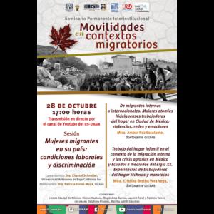 Mujeres migrantes en su país: condiciones laborales y discriminación @ Transmisión por Youtube