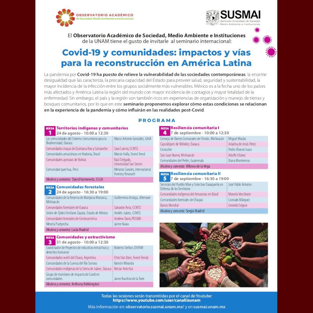 """Seminario internacional """"Covid-19 y comunidades: impactos y vías para la reconstrucción en América Latina"""" (Mesas 4 y 5) @ Transmisión por Youtube"""