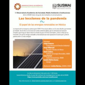 Las lecciones de la pandemia. El papel de las energías renovables en México @ Transmisión por Youtube