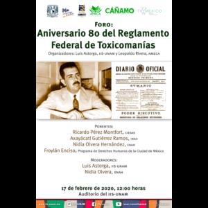 Aniversario 80 del Reglamento Federal de Toxicomanías @ Auditorio