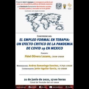 El empleo formal en terapia: un efecto crítico de la pandemia de Covid-19 en México @ Transmisión por Youtube
