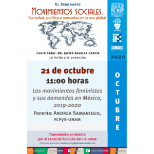 Los movimientos feministas y sus demandas en México, 2019-2020 @ Transmisión por Youtube