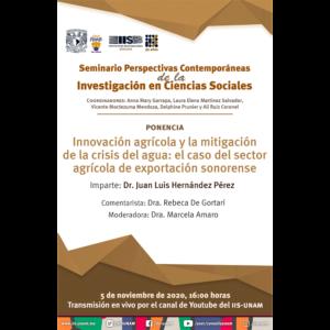 Innovación agrícola y la mitigación de la crisis del agua: el caso del sector agrícola de exportación sonorense @ Transmisión por Youtube