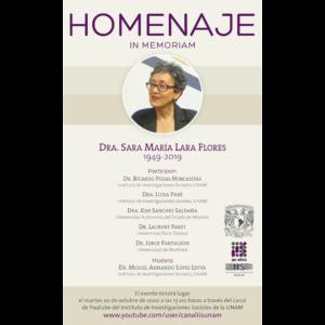 Homenaje in memoriam de la Dra. Sara María Lara Flores 1949-2019 @ Transmisión por Youtube