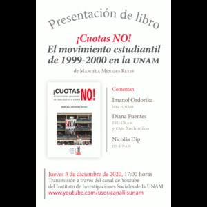 """Presentación del libro """"¡Cuotas NO! El movimiento estudiantil de 1999-2000 en la UNAM"""""""