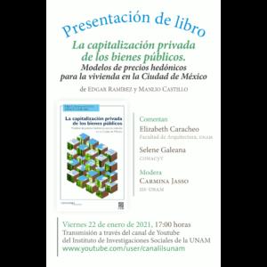 """Presentación del libro """"La capitalización privada de los bienes públicos. Modelos de precios hedónicos para la vivienda en la Ciudad de México"""" @ Transmisión por Youtube"""