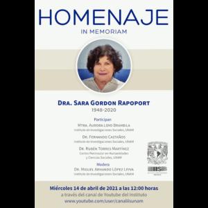 Homenaje In Memoriam Dra. Sara Gordon Rapoport @ Transmisión por Youtube