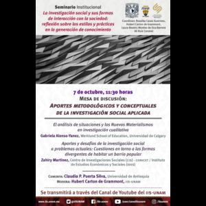 Aportes metodológicos y conceptuales de la investigación social aplicada @ Transmisión por Youtube