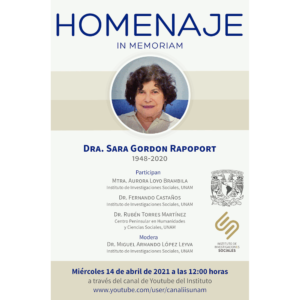 Homenaje In Memoriam Dra. Sara Gordon Rapoport @ Transmisión por Youtube