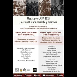 Mesa pre-LASA 2021. Sección Historia reciente y memoria @ Transmisión por Facebook