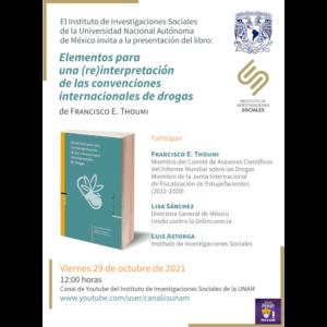 """Presentación del libro """"Elementos para una (re)interpretación de las convenciones internacionales de drogas"""" @ Transmisión por Youtube"""